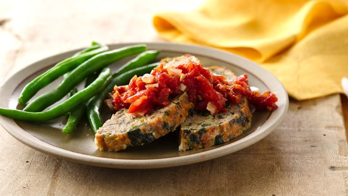 Bacon-Spinach Turkey Meatloaf with Tomato Jam