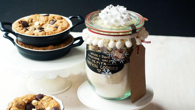 White and Dark Chocolate Chip-Pepita Pumpkin Cookie Ramekins