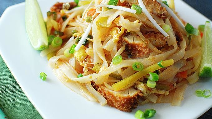 buffalo chicken pad thai recipe from tablespoon. Black Bedroom Furniture Sets. Home Design Ideas