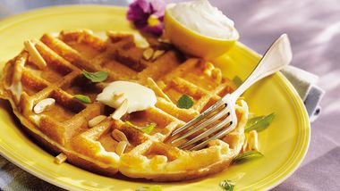 Lemon-Almond Waffles with Lemon Cream