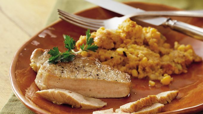 Slow-Cooker Pork Chops with Corn Stuffing recipe - from Tablespoon!