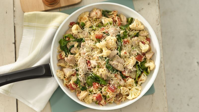 Chicken with Pan-Roasted Cauliflower and Orzo