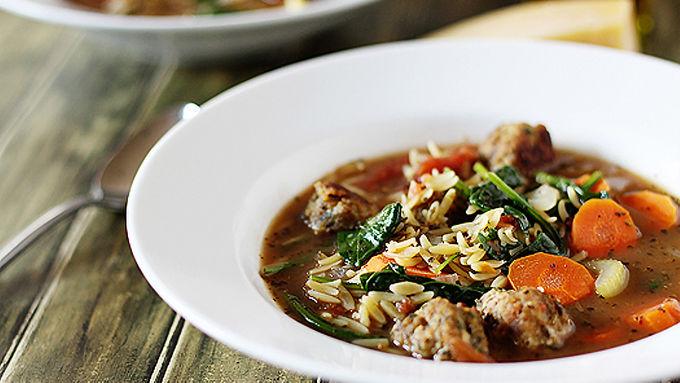 Italian Wedding Soup with Chicken Meatballs