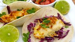 Coconut Bread Fish Tacos with Tomatillo and Avocado Sauce