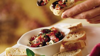 Greek Marinated Roasted Peppers, Olives and Feta