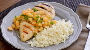 Grilled Chicken with Cantaloupe Salsa