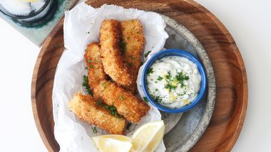 Crunchy Panko Fish Sticks with Quick Lemon-Herb Aioli