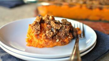 Bourbon Bacon Sweet Potato Casserole with Maple
