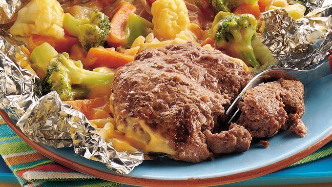 Grilled Burger and Veggie Foil Packs