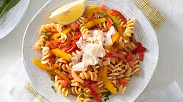 Peperonata and Yellow Pepper Pasta