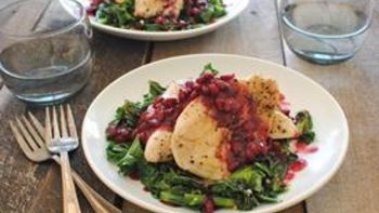 Seared Chicken Cutlets with Winter Greens and Pomegranate Sauce