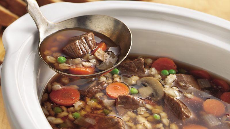 Slow-Cooker Beef-Barley Soup recipe from Betty Crocker