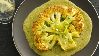 Gluten-Free Roasted Cauliflower Steaks with Curried Bean Puree