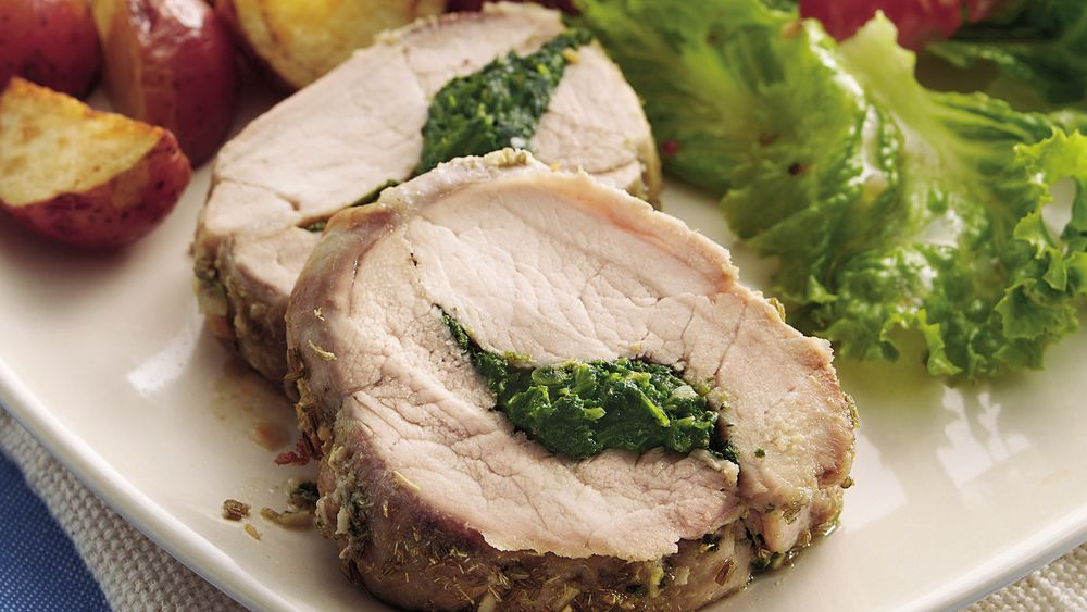 Spinach and Basil-Stuffed Pork Tenderloin