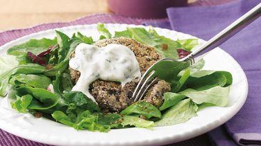 Black Bean Cake Salad with Cilantro-Lime  Cream