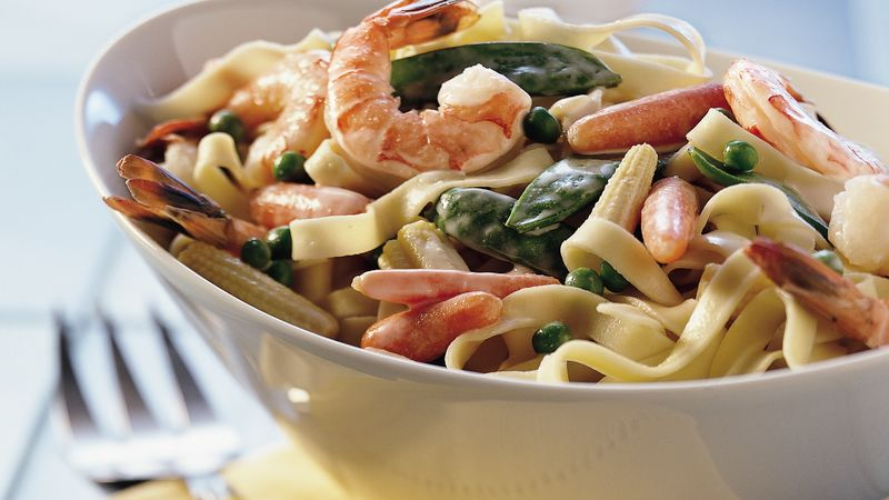 Spring Vegetable Fettuccine recipe from Betty Crocker