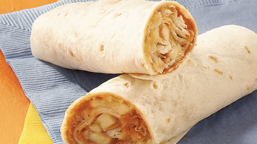 Tropical Peanut Butter Burritos