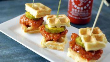 Sriracha Chicken Waffle Bites