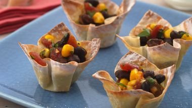 Black Bean—Corn Wonton Cups