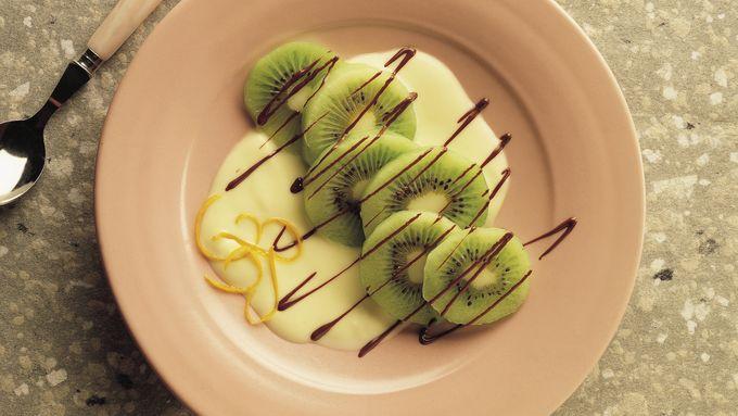Chocolate-Laced Kiwifruit with Orange Sauce
