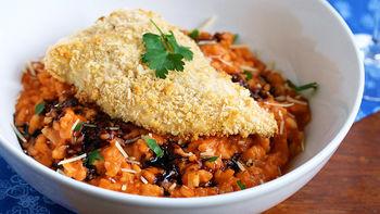Crispy Chicken with Tomato Risotto