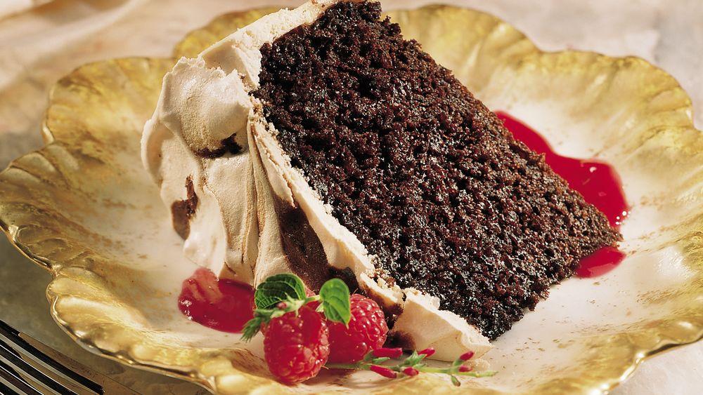 Meringue-Swirled Chocolate Cake