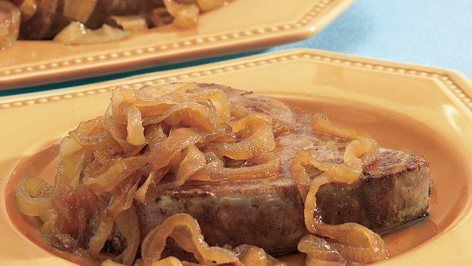 Tuna Steaks with Caramelized Onions