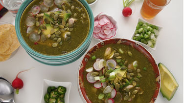 Creamy Pozole with Pumpkin Seeds