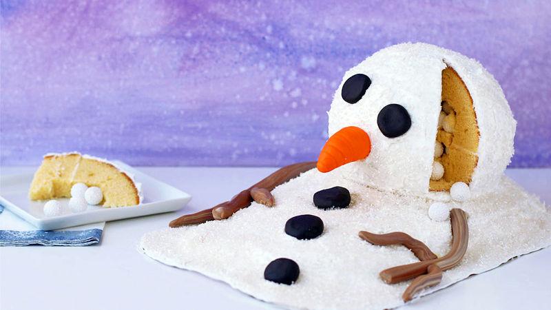 Melting Snowman Surprise Cake