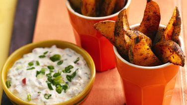 Chili Potato Dippers with Cheddar Jalapeño Dip