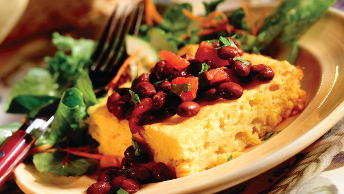 Triple Corn Squares with Bean Sauce