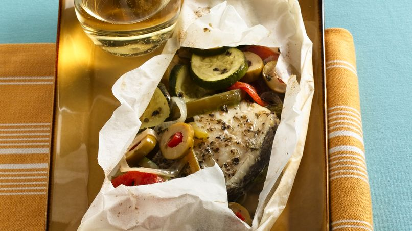 Baked Fish with Veggies in Packets
