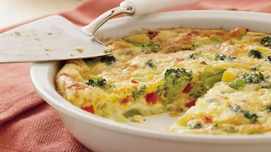 Impossibly Easy Broccoli and Red Pepper Pie