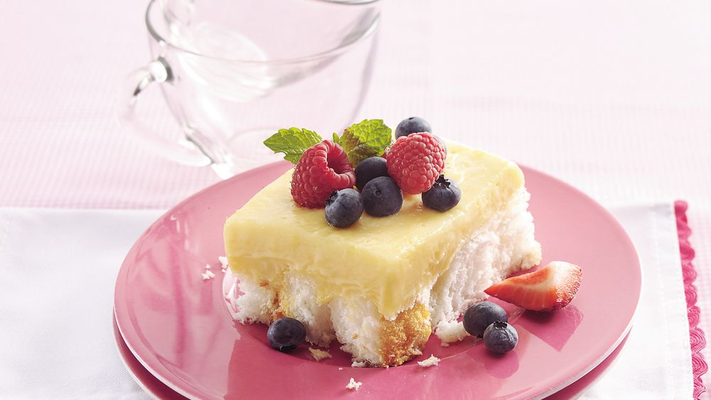 Fruit-Topped Angel Food Cake Squares