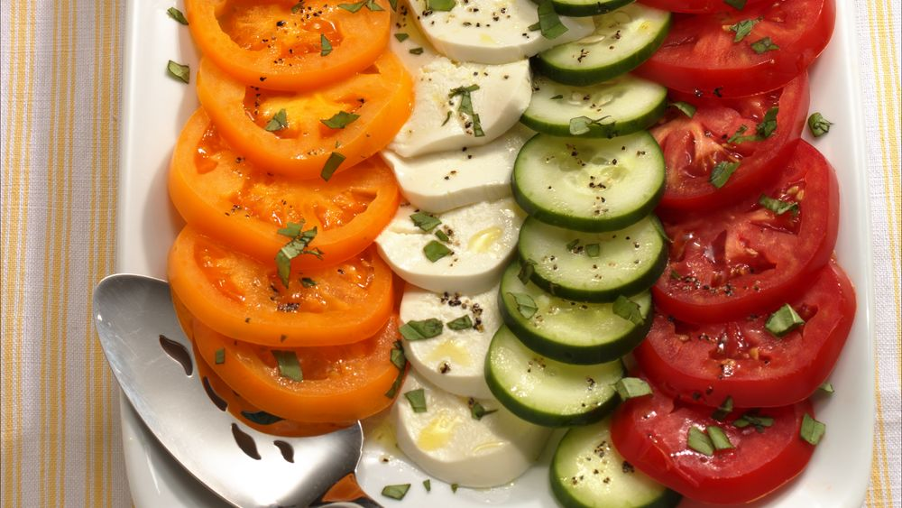 Cucumber and Tomato Salad Caprese