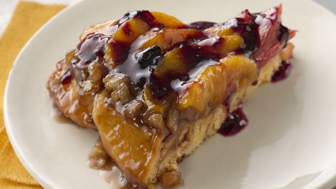 Peach and Plum Skillet Coffee Cake