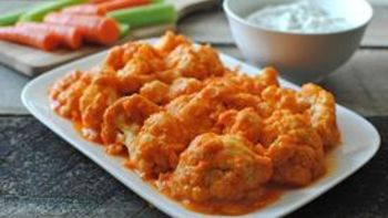 Buffalo Cauliflower and Blue Cheese Yogurt Dipping Sauce
