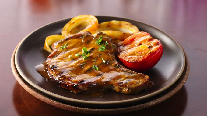 Whiskey-Dijon Barbecued Pork Chops with Grilled Veggies