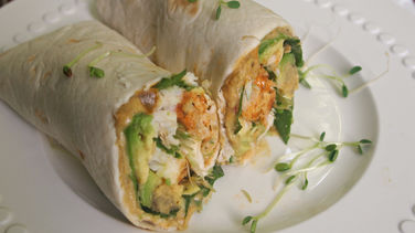 Grilled Halibut and Spicy Hummus Wrap