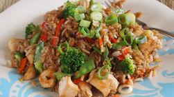 Chaufa Rice with Chicken and Broccoli