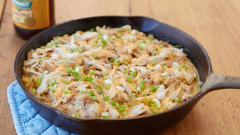 Beer Cheese Chicken Ramen Skillet