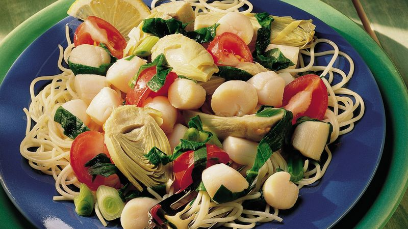 Scallops with Artichokes and Tomatoes