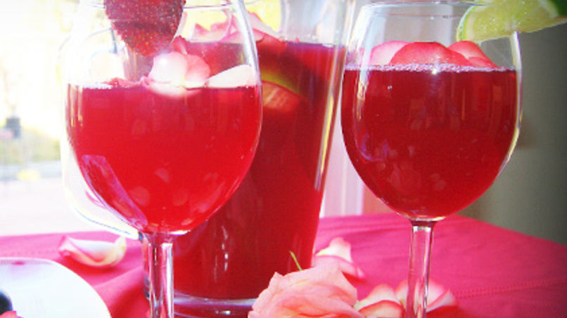 Sangria with Rose Petals
