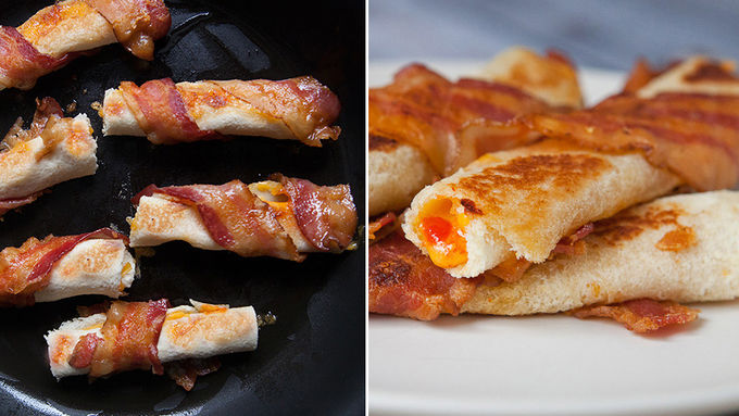 Bacon Wrapped Grilled Cheese Roll Ups Recipe From