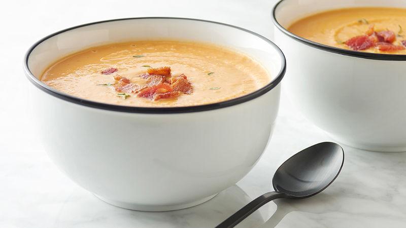 Creamy Sweet Potato, Apple and Bacon Soup
