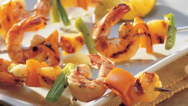Grilled Spicy Garlic Shrimp, Pepper and Pineapple Kabobs