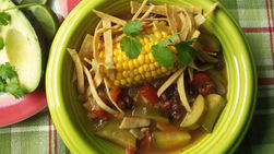 Zucchini, Black Bean and Corn Tortilla Soup