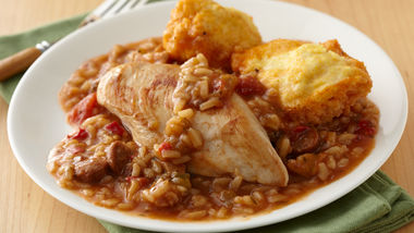 Chicken and Sausage Gumbo with Corn Dumplings
