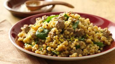 Israeli Couscous Risotto with Caramelized Onions and Sausage