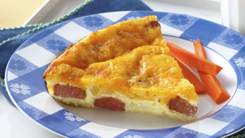 Impossibly Easy Hot Dog and Cheese Pie recipe from Betty Crocker